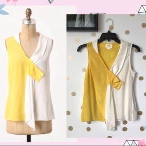 Anthro Maeve Color Block Silk Drapey Blouse